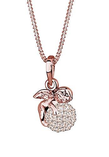 Elli Halskette Damen Engel Kugel Anhänger Schutzengel Talisman mit Kristallen in 925 Sterling Silber