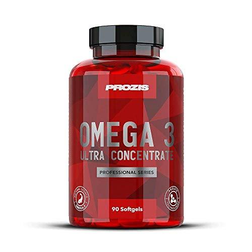 Prozis Omega 3 Ultra Concentrate Professional 90 softgels naturel Complément à Base d'Huile de Poisson - Important pour la Santé Cardiaque, la Récupération Musculaire et la Synthèse de Protéine