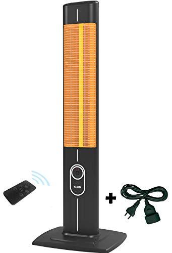 ICQN Stand Heizstrahler mit Fernbedienung und Verlängerungskabel | 2300 Watt | Infarot | Infarotheizung für Innen- & Außenbereich | Standheizstrahler | Standgerät | IP20 | Digitalanzeige