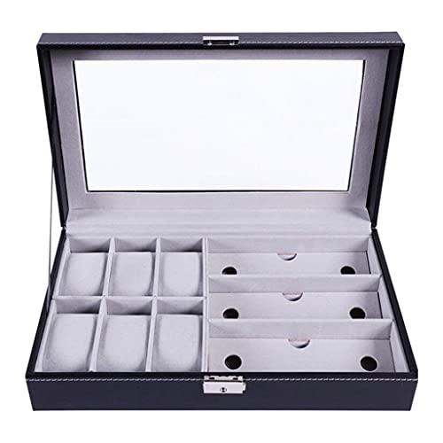 FACHA Caja de reloj unisex de piel sintética con soporte para gafas de sol, caja de almacenamiento de joyas y gafas de sol (color negro, tamaño: 33 x 20 x 8 cm)