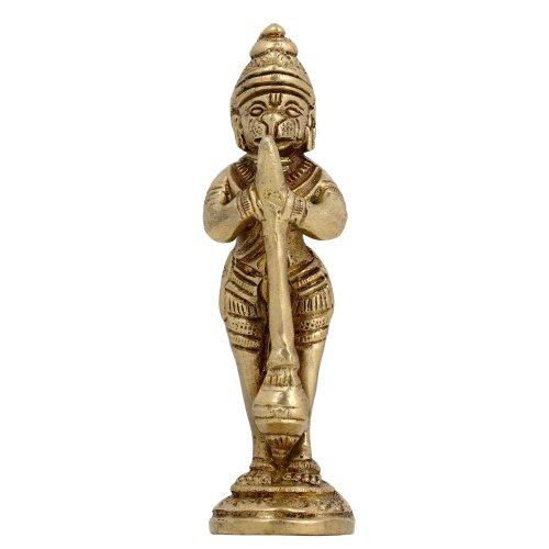 Shalinindia Singe Dieu Hanuman Hindouisme culte Art Sculpture en métal Laiton