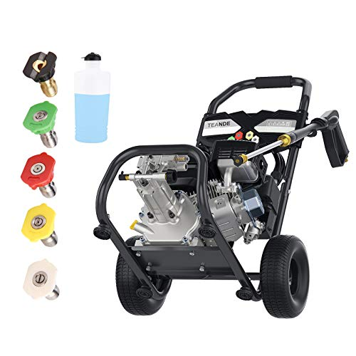 TEANDE Gas Pressure Washer 4200PSI 212CC, Gas Powered 2.8GPM Gasline Power Washer Machine with 4 Nozzles, Detergent Bottle and Hose