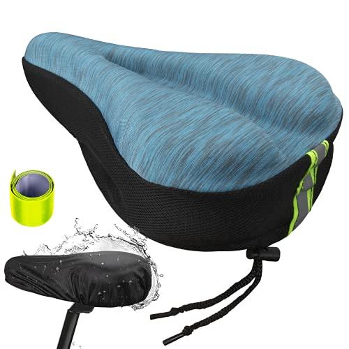 iOutdoor Cojín para asiento de bicicleta, de gel, cómodo, asiento de bicicleta de montaña, asiento de bicicleta suave, con cubierta de polvo de agua y correa reflectante (azul marino)