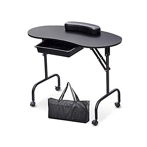 GXLO Manucure Portable et Pliable Table Nails Spa Salon de beauté Bureau Technicien Poste de Travail avec Wrist Pillow Roue verrouillables Sac de Transport de 36 Pouces,B