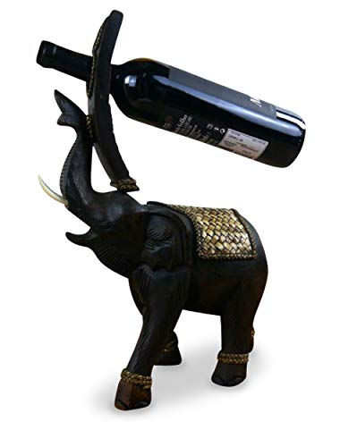 livasia Dekoelefant als Weinflaschenhalter Holzelefant (Handarbeit) asiatischer Flaschenständer/Flaschenhalter, Elefant aus Holz