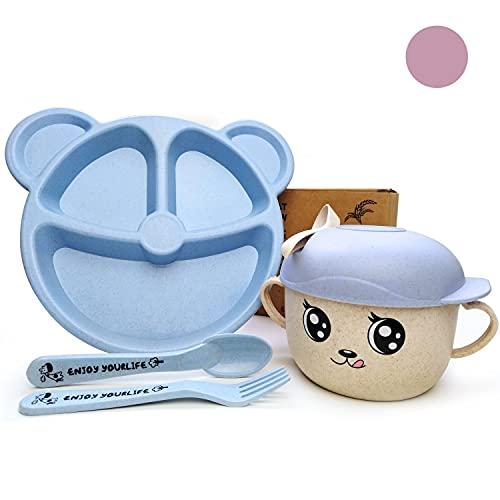 Pack  Juego de Vajilla Infantil para Bebé o Niños | De Paja de Trigo y Sin BPA | Incluye Plato Oso + Cubiertos + Vaso estilo Taza | Apto para Microondas y Lavavajillas (Vajilla Infantil Bebe Azul)