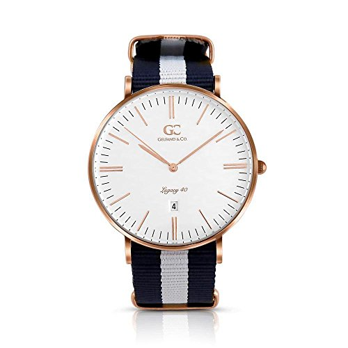 Gelfand & Co. Unisex Minimalist Watch Blue/White NATO Strap Crosby 40mm Rose Gold with White Dial