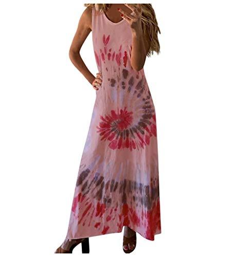 Tomatoa Sommer Damen Kleider Elegant Strandkleid Kurzarm Kleid MaxiKleid Rundkragen Frauen Kleider Ärmellos Lang Kleid Partykleid Freizeitkleider Große Größe S - 5XL