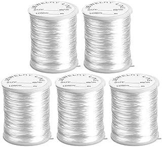 Nylonband   Nylonfaden   Nylonschnur   transparent, elastisch &, reißfest   0,8 mm x 20 m je Rolle   5 Rollen = 100m   ideal für Armbänder, Schmuck-Basteln, Perlen auffädeln, DIY