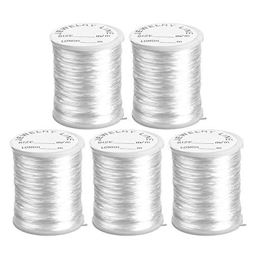 Nylonband | Nylonfaden | Nylonschnur | transparent, elastisch &, reißfest | 0,8 mm x 20 m je Rolle | 5 Rollen = 100m | ideal für Armbänder, Schmuck-Basteln, Perlen auffädeln, DIY