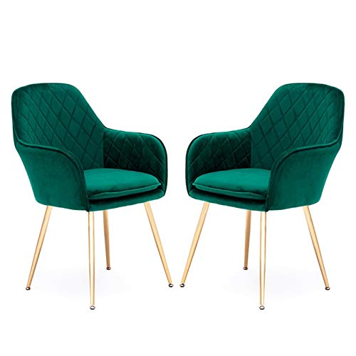 ZYXF Flannel Fabric Dining Chairs Set Of 2 Mid Century Modern Leisure Upholstered Chair With Electroplating Golden Chair Feet For Kitchen Living Room (Color : Green)