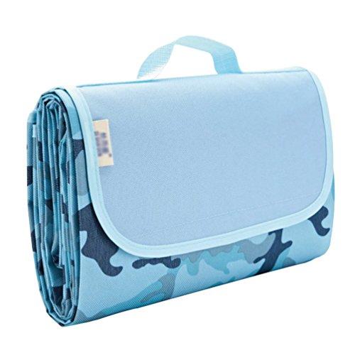 Dooxi 195 x 200 cm Couverture Tapis de Pique-Nique Imperméable Pliable Portable pour Camping Plage Extérieure de Randonnée Pédestre Jardin avec Poignée