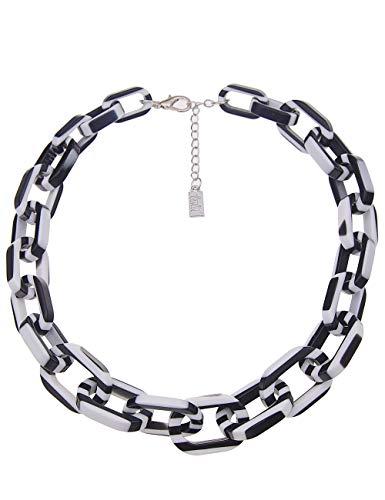 Leslii Kurze Damen Kette, Statement Gliederkette Stripes, XXL Collier, gestreifte Halskette Modeschmuck Streifen in Schwarz Weiß