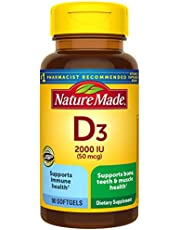 Nature Made Vitamin D 50 mcg (2,000 IU) Softgels, 90 Count for Bone Health (Packaging May Vary)