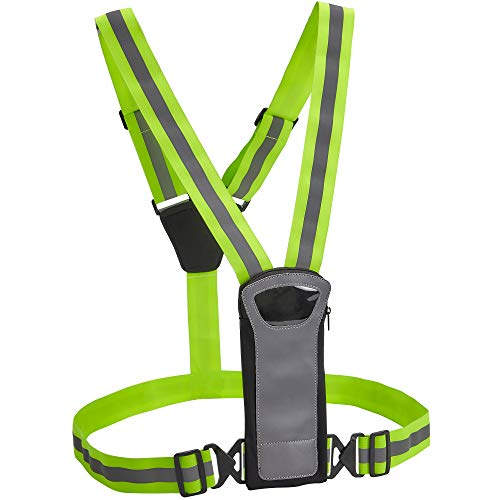 Athlé Reflective Vest with Phone and Storage Pouch, High Visibility, Adjustable Comfortable Stretch Waist Belt - for Safe Running, Jogging, Dog Walking, Biking and More
