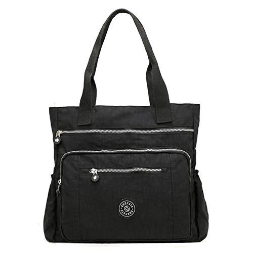 Women's Casual Multi-Pocket Handbags Waterproof Nylon Top-Handle Bag Shoulder Bag Travel Purse Large Capacity (Black)(Size: L)
