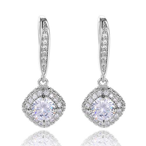 happysdh Fashion diamond rhinestone square zircon drop earrings for women or girls Jewelry Earrings Set Perfect for Any Gift Giving Occasion for Women Girls, Diamond and Rhinestone Square Earrings