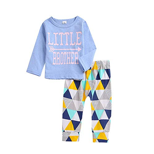 Pochers Pochers 3PCS Kleinkind Baby Long Sleeves Brief Drucken Top T-Shirt + Hosen Set Outfit
