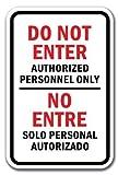 PixDecor Tin Sign 8x12 Bilingual Do Not Enter Authorized Personnel Only/No Entre Solo Personal Autorizado Sign Novelty Home Decor Retro Metal Sign