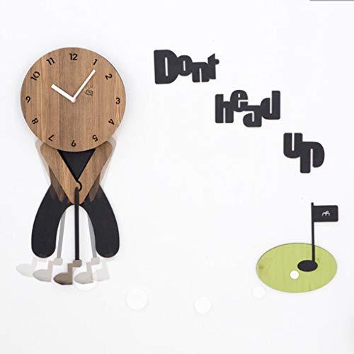 Q-HL Reloj de Pared Sala de niños Dibujos Animados Creativo Silencioso Reloj sin tictac Dormitorio Dormitorio Creativo Silencioso Oscilación Golf Reloj Colgante, Reloj de Funcionamiento con batería