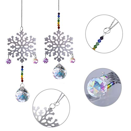Crystalsuncatcher Chakra-Perlen, Schneeflocke, zum Aufhängen, für Weihnachten, Hochzeit, Pflanzen, Autos, Fensterdekoration, 2 Stück