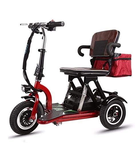XCBY Scooter de movilidad, 3 ruedas plegable scooter eléctrico, plegable, reversible, 20 km/H, ajuste de 3 velocidades, adecuado para personas mayores, personas con discapacidad, adultos (55 km) ✅