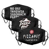 3Pack Frauen Männer Pizza-Hut-Änderungen-1-800- Mundabdeckung Bequeme Gesichtsmaske mit einstellbaren Ohrschlaufen