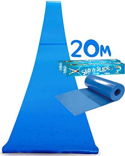 Offizielle XXXXXL Riesige Maxi Wasserrutschmatte | 20 Meter Wasserrutsche | Bauch Rutscher Premium Qualität | Slip'n Slide | Wasserspiel im Freien | Freiluftspiel | Schnellste Rutsche | 100% Spaß