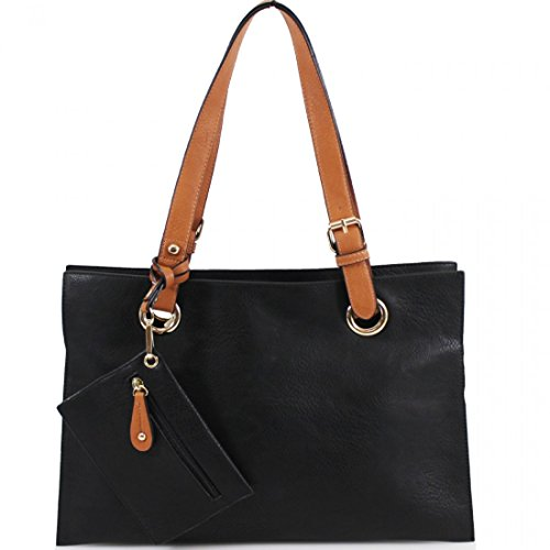 Craze London Women's Multiple Pockets Medium Size Long Strap Shoulder Bag,Ladies Shoppers Tote bag,Women's Shoulder Bag & Purse (Black)