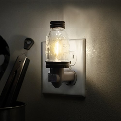 Rustic LED Mini Mason Jar Night Light in Bronze | Auto On/Off Sensor | Farmhouse Wall Decor | Quality Constuction | Energy Efficient LED Bulb | Timeless Design | Plug in Light Fixture for Home