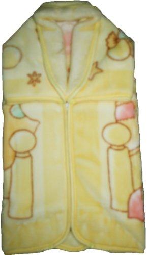 BabySac couverture bébé mixte 3 en 1 - N°116 oursons et chaton dans berceau- Jaune