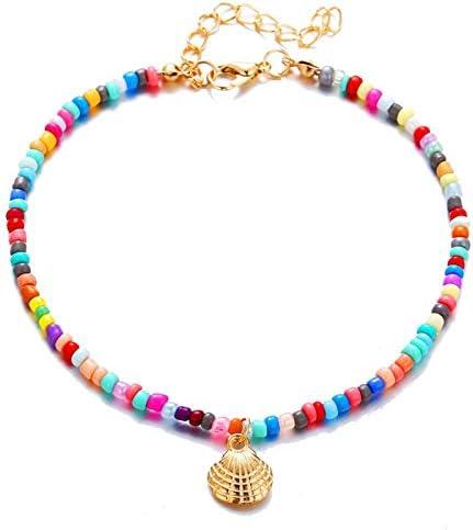 Boho Colorful Bead Anklets Set Beach Rainbow Nature Seashell Adjustable Foot Chain Ankle Bracelet 2Pcs for Women Girls