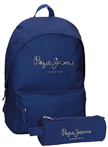 Mochila escolar Harlow Pepe Jeans + estuche, 42 cm, 22,79 Litros, Azul