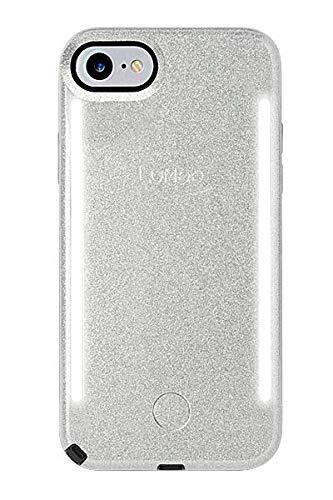 LuMee Duo Handyhülle, Silber Glitzer | Vorder- & Rückseite LED Beleuchtung, Variabler Dimmer, Stoßdämpfung, Bumper, Selfie Phone Case | iPhone 8 / iPhone 7 / iPhone 6s / iPhone 6