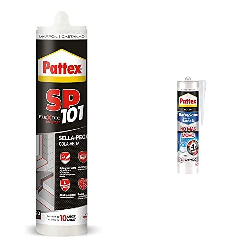 Pattex Sp101 Original, Adhesivo Sellador Para Interiores Y Exteriores, Polímero Sellador + Baño Sano No Más Moho, Silicona Antimoho E Impermeable, Silicona Blanca Duradera Para Cocina Y Baño