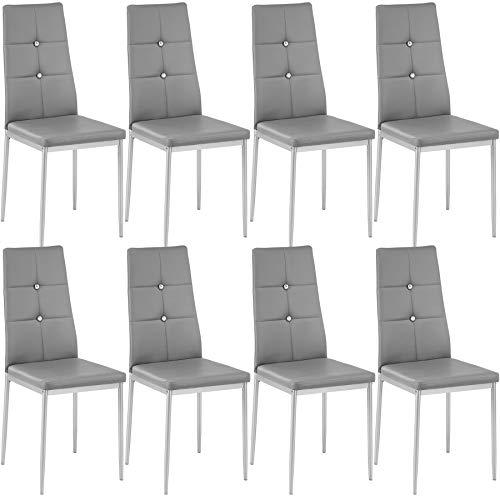 tectake 800882 8er Set Esszimmerstuhl, Kunstleder Stuhl mit hoher Rückenlehne und Glitzsteinen, bis 120 kg belastbar, 40 x 42 x 97 cm (8X Grau | Nr. 404124)