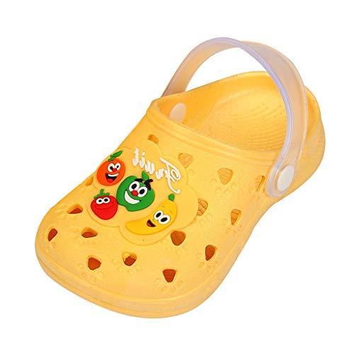HDUFGJ Unisex-Kinder Crocband K Clogs Cute Fruit Beach Slipper Sandalen Schuhe Kinderschuhe Minions Hausschuhe Kinderschuhe Sale Clogs Riemchensandalen Geschlossene Sandalen27 EU(Gelb)