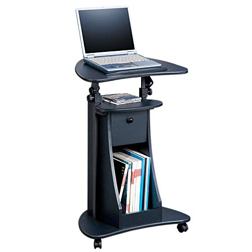 Mobile Sit-to-Stand Rolling hoogte verstelbaar Laptop Cart, Podium Desk Stand w/Swivel Top & Storage,B