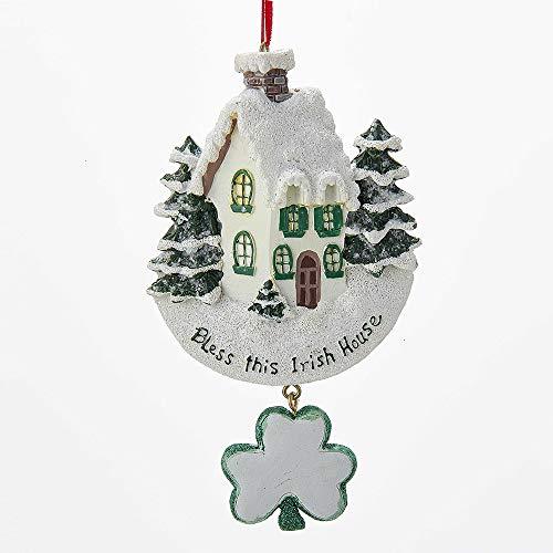 Kurt Adler 'bless This Irish House' With Dangle Shamrock Ornament