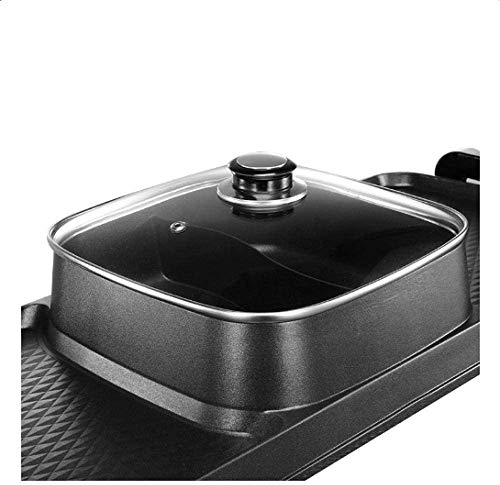 41E96bO4NoL - KOIUJ Barbecue Bratpfanne Dual Purpose Barbecue Hot Pot EIN Pot Elektro Hot Pot Elektro Backen Pan-European-Style Grilled Pfanne