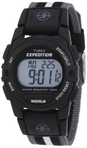 Timex Unisex T49661 Expedition Mid-Size Digital CAT Black/Gray Stripe Nylon Strap Watch