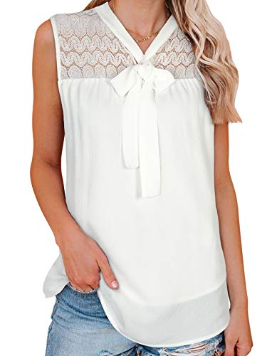 Moyabo Vintage - Camisa de mujer casual sin mangas de encaje de verano con lazo, blanco, XXL