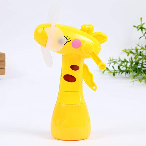 Fat Bear Mini Handheld Green Hand-Cranked Spray Water Fan Cartoon Long-Stem Herten Kinderspeelgoed Mini Spray Hand-Held Spray Kleine Ventilator voor Thuis Kantoor en Reizen YW