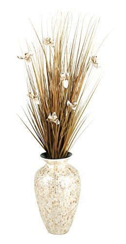 D & W Silks D&W Silks Brown Ting with Cream Blossoms in Mother of Pearl Spun Bamboo Vase
