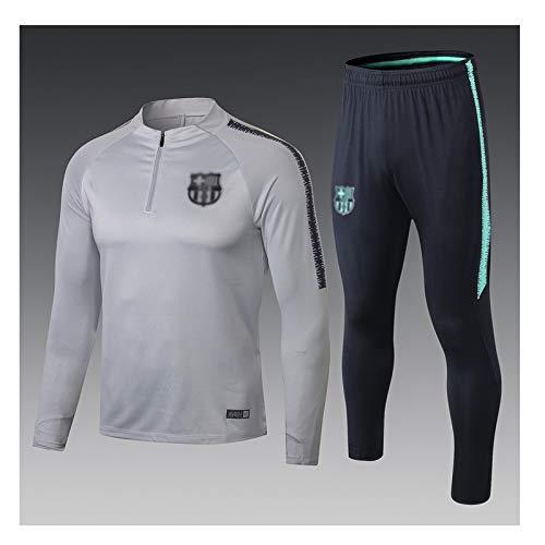 Traje de entrenamiento de jersey de fútbol Traje de fútbol de manga larga deportiva transpirable Ropa de deporte Formación gris Europea club de fútbol de los hombres (Top Pantalones +) -ZQY-A1764 Traj