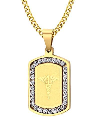 Acero inoxidable Circonita Caduceo patrón perro etiqueta colgante collar, chapado en oro
