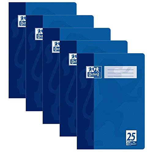 Oxford Schule Schulheft A4, Heft liniert mit Rand, Lineaur 25, 16 Blatt, blau, 5er Pack