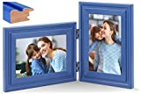 JD Concept Combo Vertical Horizontal de 10x15 cm, Marco de Fotos Doble de Madera con bisagra, Montaje en Pared o Escritorio, Retrato y Paisaje, Panel de Cristal, Azul Marino