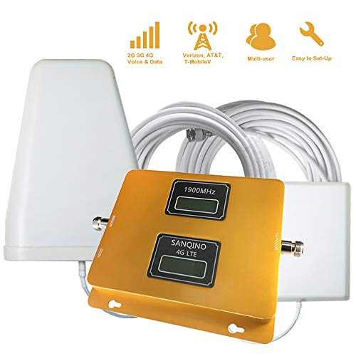 SANQINO Cell Phone Signal Booster for 2G 3G 4G LTE AT&T,Verizon,T-Mobile, Daul Band 2/5 850/1900Mhz,...