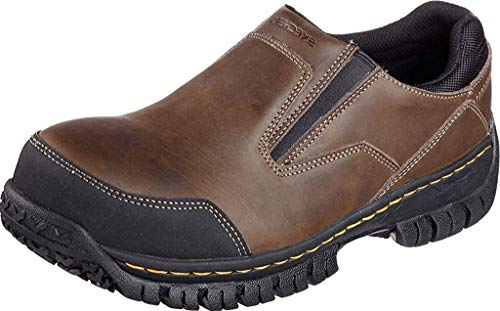 Skechers for Work Men's Hartan Slip-On Shoe, Dark Brown, 9.5 M US